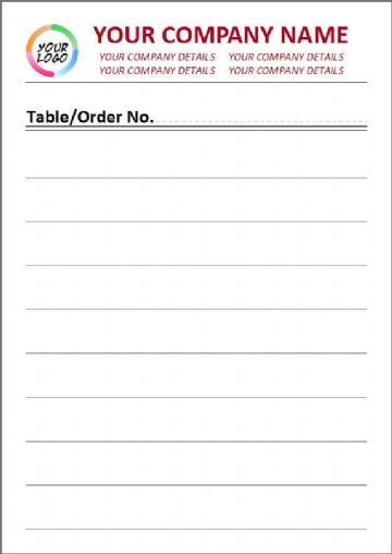 Standard Paper, Full Colour, Lined Style Order Pad